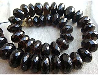 Jewel Beads Natural Beautiful jewellery Smoky Quartz Micro Faceted Rondelles - 12mm To 7mm Beads- 9 Inches Full StrandCode:- JBB-24106