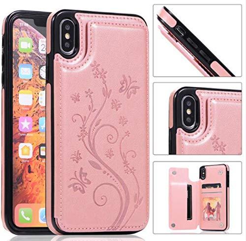 Para SamsungS10 / S10E / S10PLUS Estuche Estuche de billetera de cuero de primera calidad con soporte de tarjeta Función de soporte Bulid-in Funda protectora para SamsungS9,Rosegold,SamsungS10