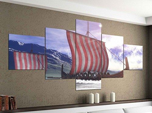 Acrylglasbilder 5 Teilig 200x100cm Boot Schiff Skandinavien Segelboot Druck Acrylbild Acryl Acrylglas Bilder Bild 14F099, Acrylgröße 11:Gesamtgröße 200cmx100cm