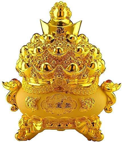 J-Clock Estatua del símbolo la Riqueza Lingote Oro la Suerte Alcancía Adornos Cornucopia Tradicional Fortuna China Riqueza Feng Shui Decoración Prosperidad Estatua Decorativa Estatuilla la Suerte