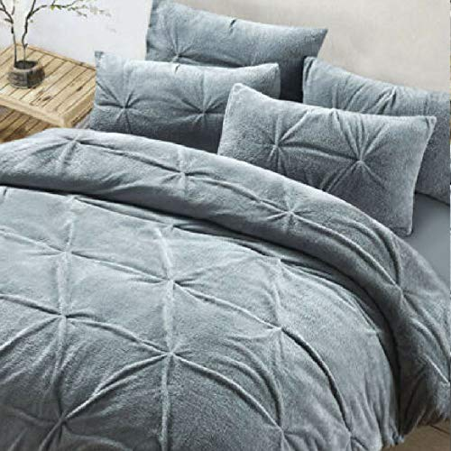 EGYPTO Super Soft Polyester Pinch Pleated Fleece Duvet Cover with Pillowcase – Luxurious Pintuck Duvet Cover, Grey (SuperKing,Duvet Set Size: 260 x 220cm, Pillow Cases Size: 50 x 75cm)
