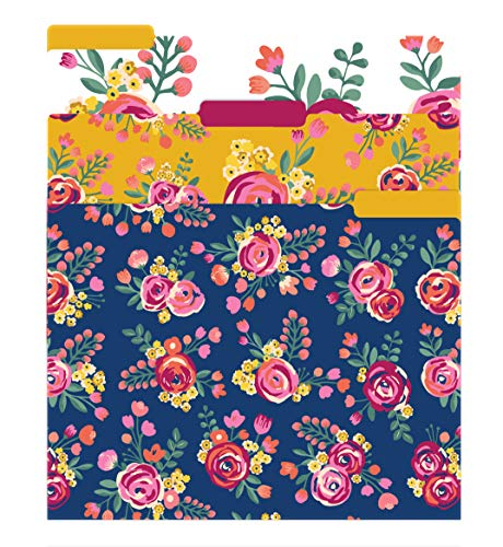 """bloom daily planners Decorative File Folders - Set of Six Letter Size (8.5"""" x 11"""") Organizers, 1/3 Cut Tabs - Assorted Designs - Vintage Floral"""