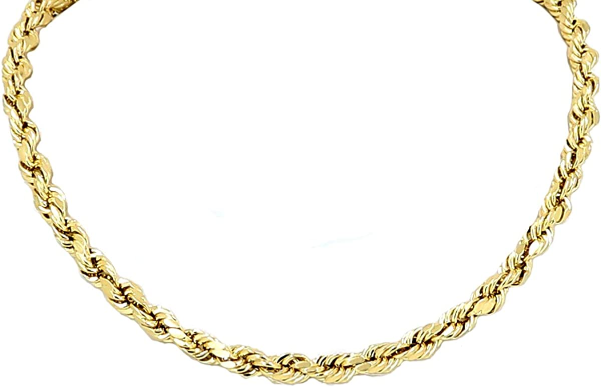 Yellow Gold Diamond Cut Rope Chain Real 26