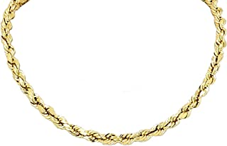 Yellow Gold Diamond Cut Rope Chain Real Solid 14k 16