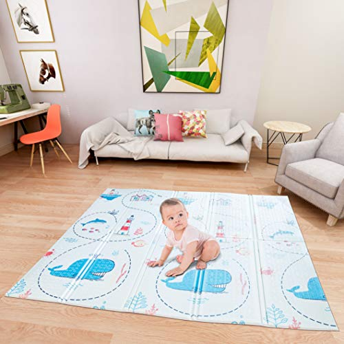 Lanboro Baby Play Mat, 71X79X0.6Inch Large Thick Foam, Non-Toxic Foldable Waterproof Crawling Play Mat for Baby, Non-Slip Portable Foam Playmats for Babies and Toddlers