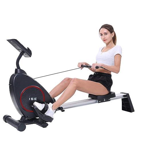 ISE Rameur d'appartement Rameur à air Pliable Appareil de Fitness Musculation Cardio Training Compatible avec Application Smartphone