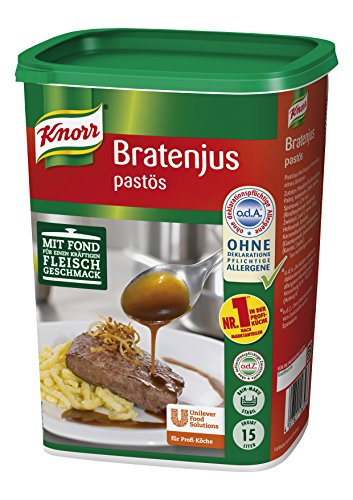 Knorr Bratenjus pastös (vielseitig anwendbar für Bratensaft, Bratensoße (gravy) und braune Soße) 1er pack (1 x 1,4 kg)