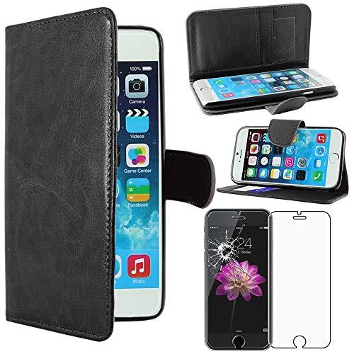 ebestStar - Cover Compatibile con iPhone 6 6S Custodia Portafoglio Pelle PU Protezione Libro Flip, Nero + Pellicola Vetro Temperato [Apparecchio: 138.1 x 67 x 6.9mm, 4.7'']