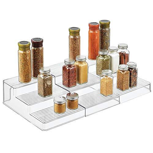 mDesign Estante especiero – Especieros de cocina pequeños con 3 niveles en plástico – Ideal como organizador de especias, para el armario de la despensa y la nevera – transparente