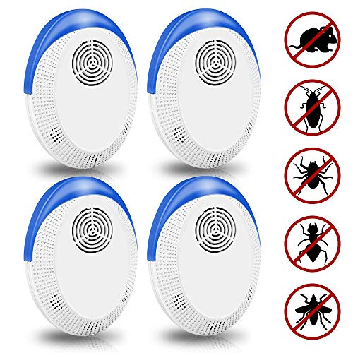 Vivibel Ultraschall Schädlingsbekämpfer, 4 Stück Elektronische Insektenschutzmittel & Innenräumen Pest Repeller Plug-in für Kakerlaken, Mäuse, Mücken, Spinnen