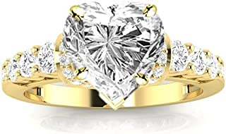 1.95 Ctw 14K White Gold Designer Four Prong Pave Set Round Diamonds Engagement Ring Heart Shape (1.2 Ct H Color SI2 Clarity Center Stone)