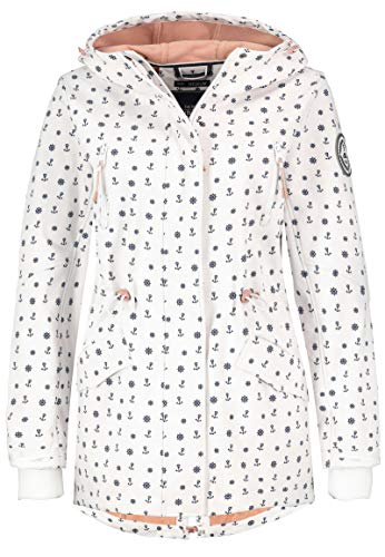 Sublevel Damen Softshell-Jacke Kurzmantel mit Kapuze & Print White M