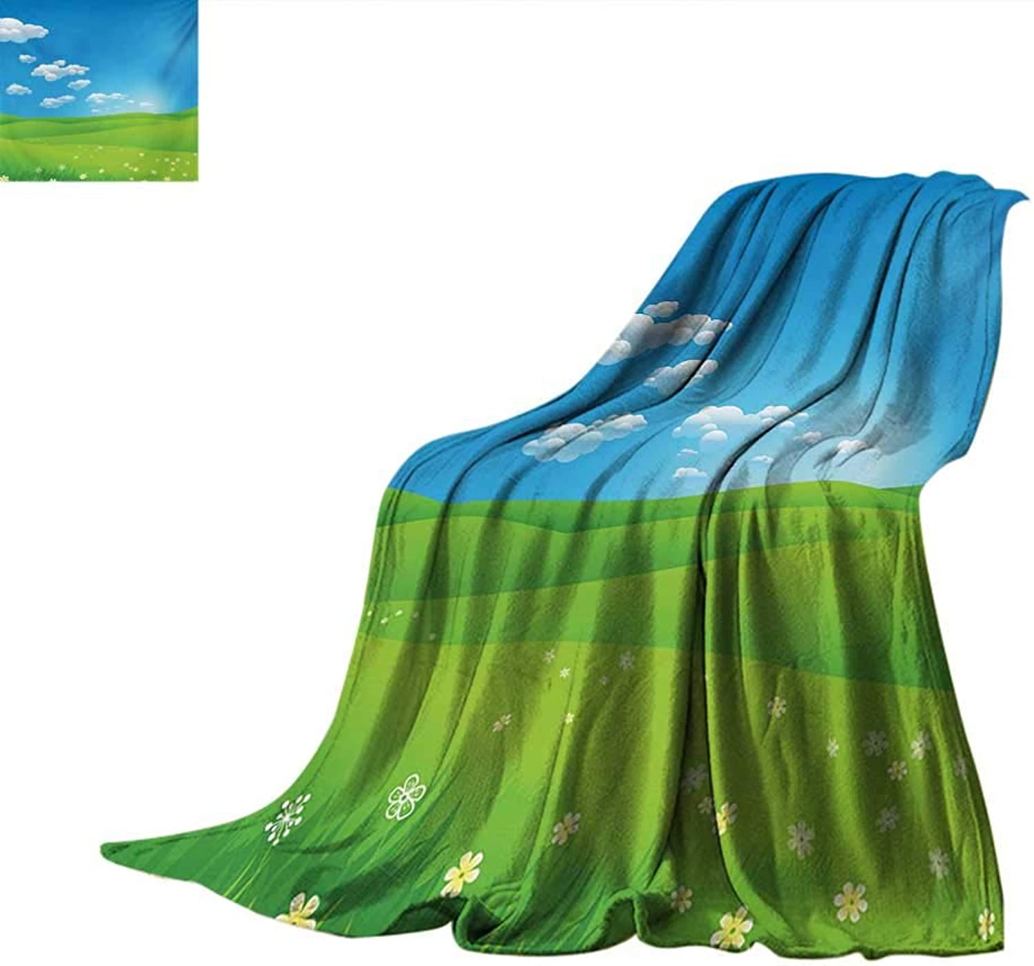 LandscapeFlannel Single Student blanketCartoon Scenery Clouds Valley Hills Grass Sunbeams Flowers Artprint ImageStudent Blanket 80 x60  bluee White Green