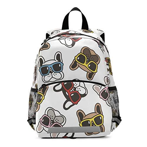 ALAZA French Bulldog Sunglasses Face Scarf Casual Backpack Bag harness bookbag Travel Shoulder Bag