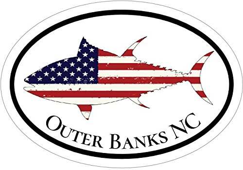 WickedGoodz American Flag Tuna Outer Banks NC Vinyl Decal - Beach Bumper Sticker - Perfect Fishing Vacation Gift