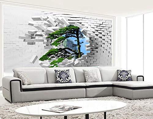 3D Stereo wit baksteen behang muurschilderingen grote muurschilderingen TV achtergrond behang zelfklevend bezoek grenen landschap 200×175cm
