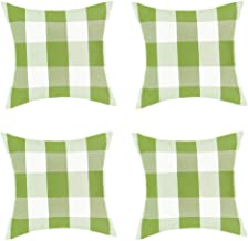 Jartinle 4 Pack Farmhouse Green Buffalo Plaids Throw Pillow Cover St.Patrick's Day Decor Cushion Covers Soft Cotton 18x18 Inch Spring Home Sofa Couch Decor (Green White)
