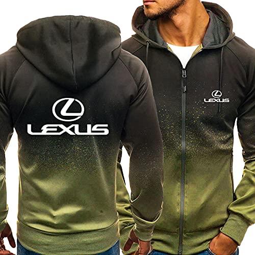 ZYYX Herren Hoodies Jacke Gradienten Sweatshirts für Lexus Casual Full-Zip Langarm Mantel Uniform Kleidung Outwear Tops,Green-X-Large