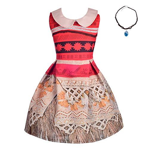 Lito Angels Vaiana Vestito Intero con Colletto per Bambina, Costume Oceania con Collana per Halloween e Festa di compleanno, Taglia 2-3 Anni