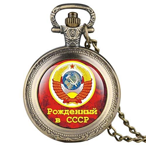 ZMKW Bronce Soviética Rusia Emblema Partido Comunista Insignia Reloj de Bolsillo de Cuarzo URSS Insignias soviéticas Relojes de Martillo de Hoz, Bronce