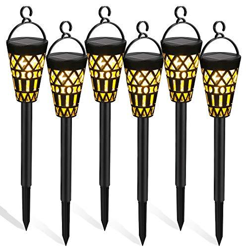 Tencoz Lampade Solari da Giardino, 6 Pezzi Luci Solari da Esterno Decorazione di Illuminazione Solare a LED Impermeabile da Appendere per Terra Prato Sentieri Cortile (6 Pack)