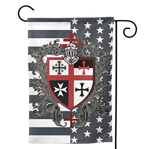 """UTWJLTL Garden Flag Knights Templar Cross Shield Decorative Flag Double Sided 12.5"""" X 18"""" Weather Resistant Outdoor Welcome Flag for Yard Patio Garden Outdoor Decor"""