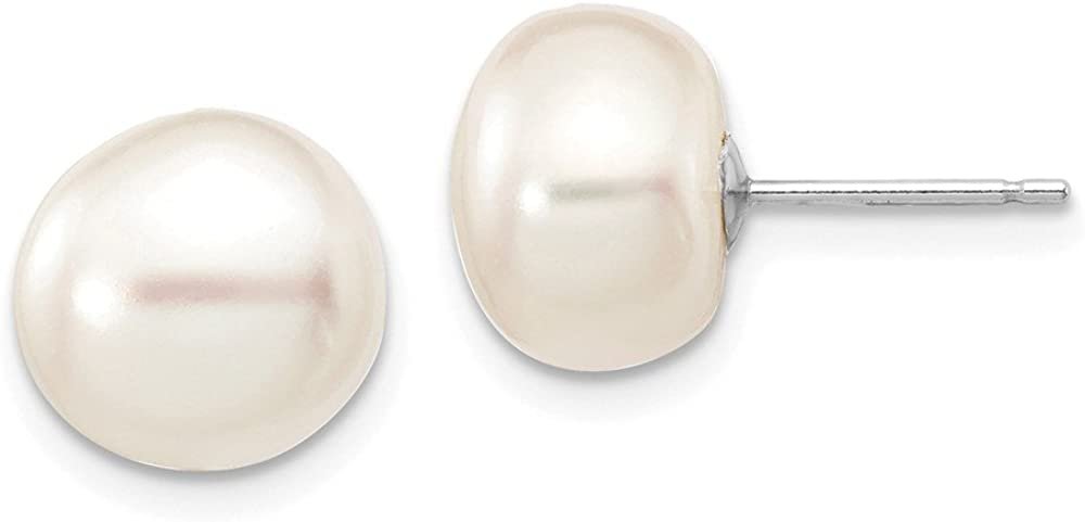 Solid 14k White Gold 9-10mm White Button Freshwater Cultured Pearl Stud Post Earrings mm