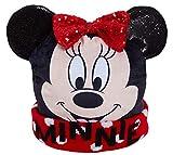 Disney Mädchen Minnie Maus 3D Bommelmütze Kinder Winter Fleece gefüttert Gr. 6 5/8, schwarz/red