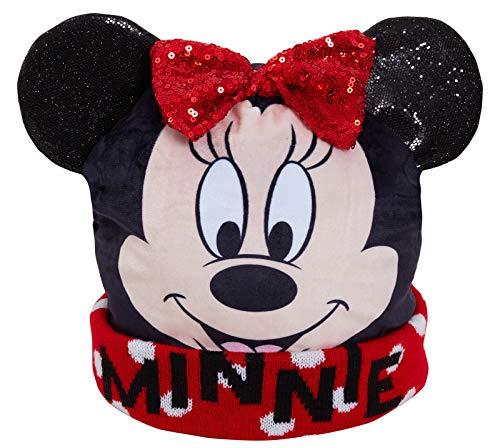 Disney Mädchen Minnie Maus 3D Bommelmütze Kinder Winter Fleece gefüttert Gr. Small, schwarz/red