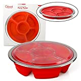 Appetizer Serving Fruit/Veggie Tray and Collapsible Party Platter with Lid - Easy to Clean, Portable, BPA Free, and Dishwasher Safe