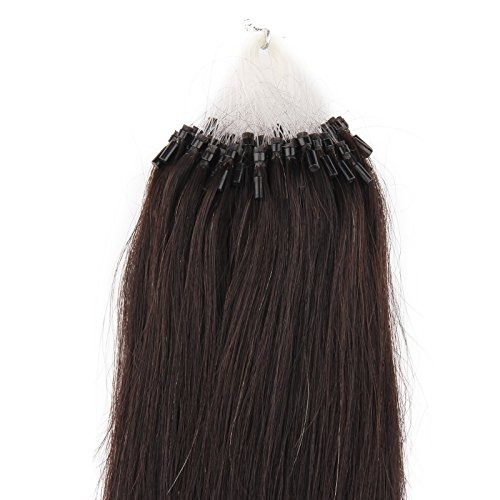 Beauty7 - 50 STK Echthaarstraehnen Remy Echthaar Haarverlaengerung Loop Micro Ring Microring Haare 50cm Echthaar Extensions 1g Straehnen 20 Zoll Schwarzbraun #1B