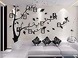 Alicemall Stickers Autocollants Muraux Amovibles 3D en Acrylique Arbre avec des Branches Incurvées et des Cadres de Photo et des Oiseaux (Feuilles Noires)