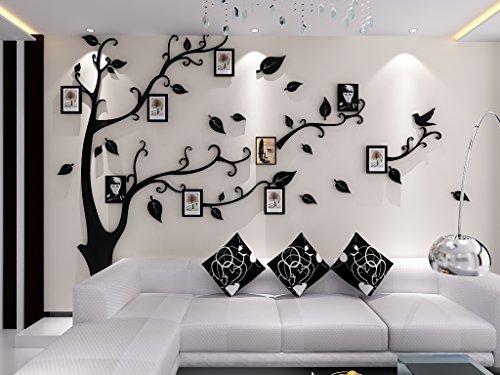 Asvert 3D Wandaufkleber Stereo Abnehmbare Wandtattoo Schwarze Blätter und schwarzer Baum, Bilderrahmen mit Stickern Wohnzimmer Schlafzimmer Kinderzimmer Sofa Möbel (Schwarz L)