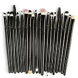 Exteren 20 pcs Makeup Brush Set tools Make-up Toiletry Kit Wool Make Up Brush Set Blending Brush Makeup Kit (Black)