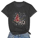 Ho Ho Ho - playera de Navidad para mujer, diseño de leopardo, diseño de copos de nieve, Gris oscuro, S
