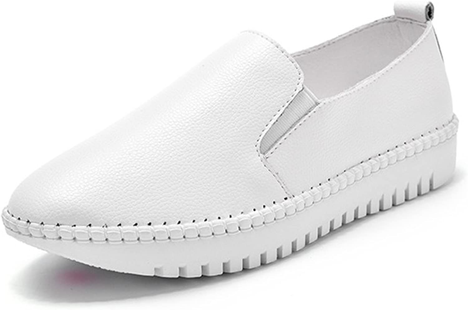 T-JULY Loafers shoes for Women - Casual Slip On Elastic Anti-Slip Platform Round Toe Comfy Penny