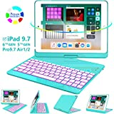 iPad Keyboard Case 9.7 for iPad 2018 (6th Gen) - 2017(5th Gen) - iPad Pro 9.7 - Air 2 & 1, 360 Rotate 7 Color Backlit Wireless/BT iPad Case with Keyboard, Auto Sleep Wake, 9.7 inch, Tiffany Blue
