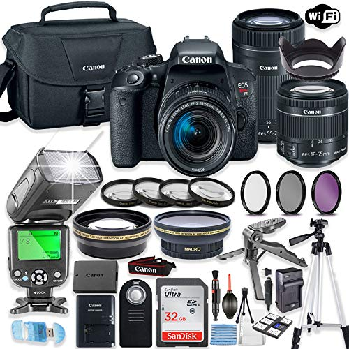 Canon EOS Rebel T7i DSLR Camera Bundle with Canon EF-S 18-55mm STM Lens & EF 55-250mm STM Lens + 32GB Sandisk Memory + Canon Case + TTL Speedlight Flash (Good Upto 180 Feet) + Accessory Bundle