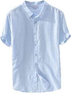 Runyue Mens Linen T Shirts, Short Sleeve Shirts, Lightweight Vintage Casual Plain Tops Loose Fit
