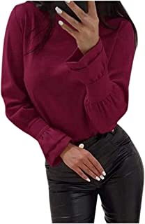 Women Solid Pullover Tops, Ladies Round Neck Long Sleeve Fashion Blouse T-shirt Tops