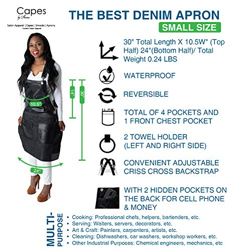 Capes by Sheena Barber Hair Stylist Hairdresser Salon Jean Canvas Denim Apron (SMALL/MEDIUM, Black/Best Denim Style)