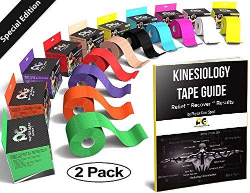 Physix Gear Kinésiologie Tape imperméable, Bandage Médical, Strap en complément de l'Attelle Cheville, K Tape de Strapping sur Les Muscles, Bande de Kinésiologie (2 Bandes Noires 5cm x 5m + e-Guide)