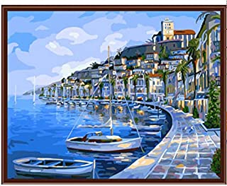 Superlucky Seascape Sonnenuntergang Wand Malen Bild Malen Nach Zahlen DIY Digital Leinwand Ölgemälde Wohnkultur Für Wohnzimmer 40x50cm Mit Rahmen B07J4V4RHB  Einfach