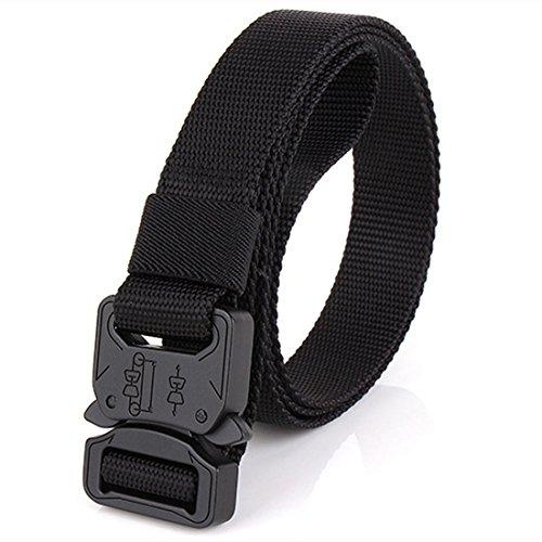 NiceShop16 Nylon Tactical Belt Quick Release Metal Buckle Military Webbing Work Belts for Men 1' Wide Black