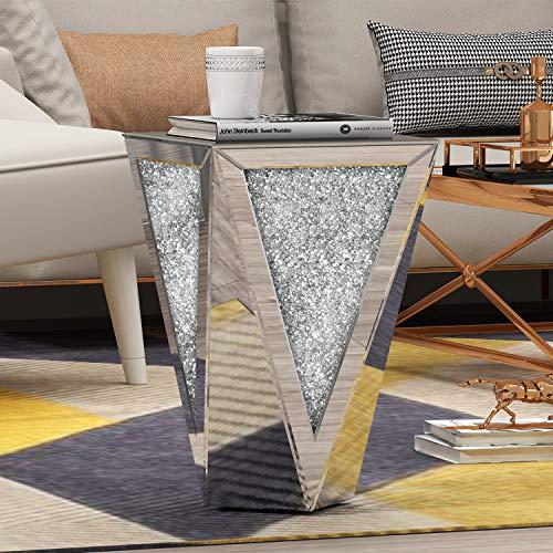 KOHROS Mirrored End Table Living Room,Diamond Setting Side Table Pedestal Stand for Bed, Sofa, Corner, Hallway