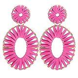 BaubleStar Kiera Raffia Tassel Fringe Rattan Hoop Drop Statement Earrings Hot Pink Tiered Thread Handmade Round Oval Cirle Dangle Fashion Jewelry for Women Girls