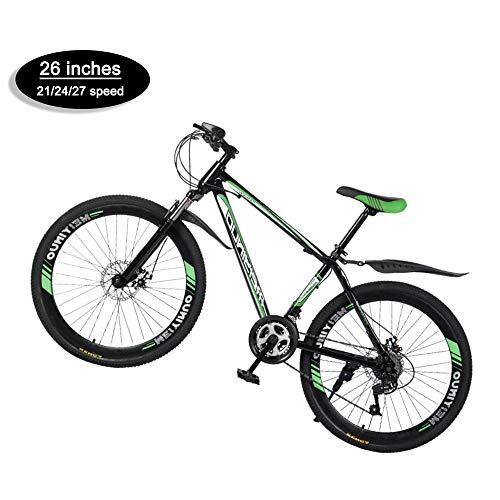 @Y.T Mountainbike 26 Zoll, 21/24/27 Geschwindigkeit Stoßdämpfung Kohlenstoffstahlrahmen Hard Tail Verstellbarer Sitz Doppelscheibenbremsen
