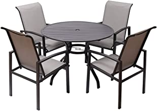 """Fit Right 5 Pieces Outdoor Dining Set Patio Furniture with Metal Slat Finish, Steel Tube 38"""" Round Dining Table and Patio ..."""