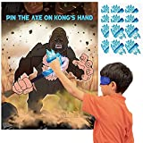 Monkey Pin The Tail Games Party Supplies Pin The Aex on The Monkey Hand Poster Birthday Collection Favor Baby Shower Background Game Accessories for Kids ( Includes 2 Blindfolds )