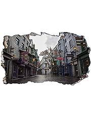 Chicbanners Harry Potter Diagon Steeg 3D Muur Smash V303 Muursticker Zelfklevende Poster Muur Art Maat 1000mm breed x 600mm diep (groot)